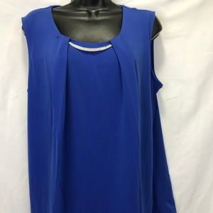 JM Collection Sleeveless Blue Blouse NEW